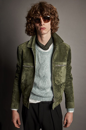 TF Light Green Suede Jacket