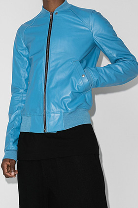 R Blue Leather Bomber